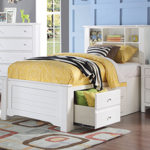 256T Twin Bed w/ Storage  - Finish: White<br><br>Available in Full Size<br><br>Available in Black<br><br>No Box Spring Required<br><br>Dimensions: 89