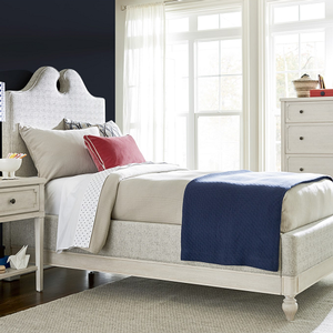 258T Upholstered Twin Bed - Finish: Alabaster<br><br>Available in Full Size<br><br>Dimensions: 44W x 82