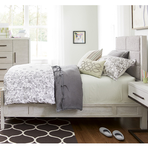 260T Twin Upholstered Bed - Finish: Sea Salt<br><br>Available in Full Size & Queen Size<br><br>Dimensions: 42W x 80D x 50H