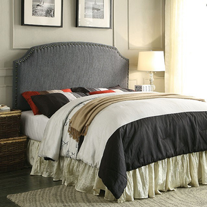 264HB Nailhead Trim Headboard in Gray - Finish: Gray<br><br>Available in Dark Teal, Blue & Beige Fabric<br><br>