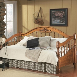 028DB Traditional Twin Daybed - Traditionally carved daybed crafted from solid pine<br><br>Curved crown moulding with turned spindles<br><br>Link spring required<br><br>