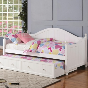 026DB White Wooden Daybed with Trundle - Twin daybed with elegant curved back. Trundle included with crystal knob pulls<br><Br>Link spring not required<br><br>