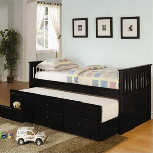 001DB Twin Captain's Bed W/ Trundle and Storage Drawers - Classic style daybed with clean lines <br><br>Pop-up trundle included<br><Br>Link spring not required<br><BR>