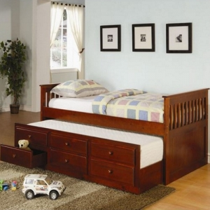 002DB Twin Captain's Bed W/Trundle and Storage Drawers - Classic styled daybed with clean lines<br><br>Trundle included<br><Br>Link spring not required<br><Br>Dimensions: 80.50