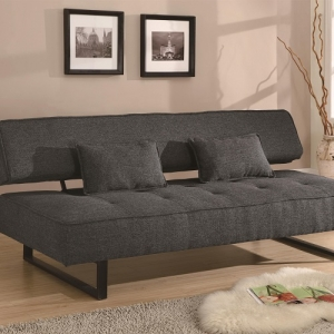 Item # 012FN Sofa Bed - Upholstered in dark grey tweed-like fabric<br><br>Two accent pillows included<br><br>U-shaped metal legs<br><Br>Kiln dried hardwood frame<br><Br>Sinuous spring base with foam topped seating
