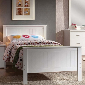 0917FB White Full Bed - Finish: White<br><br>Available in Twin Size<br><br>No Box Spring Required<br><br>Dimensions: 79