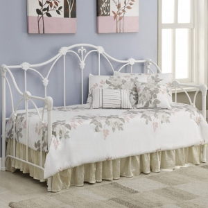 Item # 004MDB Daybed with Floral White Frame - Twin metal daybed finished in white<br><br>Link spring not required<br><Br>