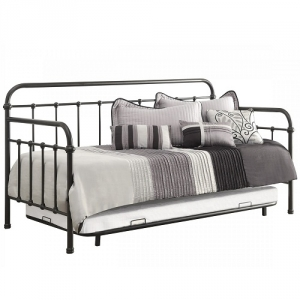 Item # 002MDB Daybed with Trundle and Metal Frame - Finish: Dark Bronze<br><br>Dimensions: 81W x 41.75D x 43.25H