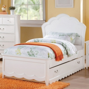 0005TB Ariadne Twin Panel Bed - The collection offers both panel and PU headboard choices with adorable cupcake shaped, and it also uses curvy pattern throughout the bed<br><br>