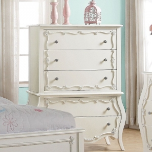 301CH Amelia Collection 5 Drawer Chest - Finish: Pearl White<br><br>Dimensions: 37