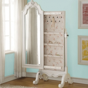 Amelia Collection Jewelry Armoire Mirror - Floral Decorative Carvings<br><br>Rosette Knobs<br><br>Elegant Tapered<br><br>Hooks for Jewelry<br><br>