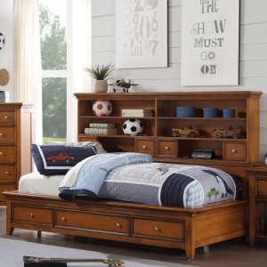 Twin Bed w/ Storage - Chambered Drawer Fronts & Trim<br><br>Metal Knobs for a Modern Look<br>,br>Center Wooden Glide Drawers<br><br>English Dovetail<br><br>Tapered Legs<br><br>Bookcase Storage Headboard<br><br>