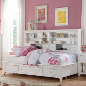 Kaylen Collection Twin Bed w/ Storage - Available in Full Size<br><br>Chambered Drawer Fronts & Trim<br><br>Metal Knobs for a Modern Look<br><br>Center Wooden Glide Drawers<br><br>English Dovetail<br><br>Tapered Legs<br><br>Bookcase Storage Headboard<br><br>