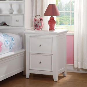 Kaylen Collection Nightstand w/ 2 Drawers - Chambered Drawer Fronts & Trim<br><br>Rosette Knobs<br><br>Center Wooden Glide Drawers<br><br>Tapered Legs<br><br>