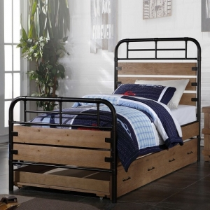 Twin Bed - Constructed with Metal Frame w/ Wood Panels<br><br>Trundle Bed Available for Space Saving<br><br>
