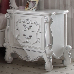 Rose Collection Antique Nightstand - Hand Carved Style Overlays and Overside Scrolled Details<br><br>Side Metal Glide Drawers<br><br>Felt Lined Drawers<br><br>Dovetail English Back<br><br>