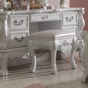 049KCH Diana Collection Antique Stool - Scrolled Ornamental Details<br><br>