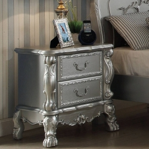 Diana Collection Antique 2 Drawer Nightstand - Center Metal Glide Drawers<br><br>Felt Line Drawers<br><br>Dovetail English Back & Front<br><br>Scrolled Ornament Details<br><br>