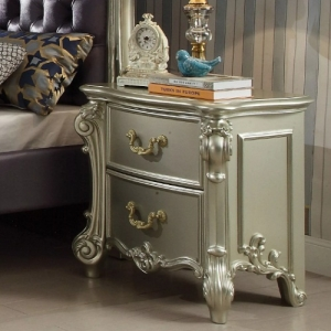 Aurora Collection Elegant Nightstand  - Elaborate Wood Carving Details<br><br>Felt Lined Drawers<br><br>Dovetail English Back<br><br>Side Metal Glide Drawers<br><br>