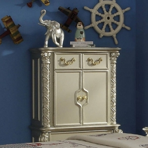303CH Aurora Collection 4 Drawer Chest - Elaborate Wood Carving Details<br><br>Side Metal Glide Drawers<br><br>Felt Lined Drawers<br><br>Dovetail English Back<br><br>