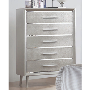 Item # 322CH Tall Sparkling Chest - Finish: Metallic Sterling<br><br>Dimensions: 33.75 W x 16.75 D x 50.50 H