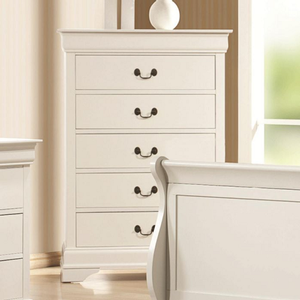 Item # 332CH 5 Drawer Chest - Finish: White<br><br>Offered in cappuccino, red brown & black finish<br><br>Dimensions: 33W x 18D x 48.25H