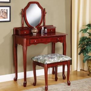 029V Vanity Desk - Brown red finish vanity<br><br>Matching stool with upholstered seat<br><br>Mirror with adjustable tilt<br><Br>