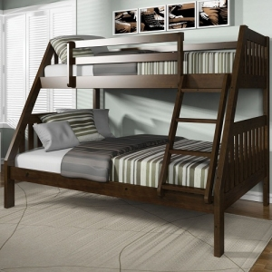 A0017TF Twin/Full Bunk Bed - Finish: Espresso<br><br>Available in Oak & White Finish<br><br>Slats System Required<br><br>Dimensions: 78