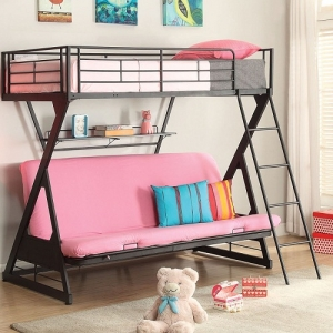 083MBB Twin Over Full Futon Bed w/Bookshelf - Bunkie Board Not Required<br><br>Metal Tube Supported<br><Br>Reversible Ladder ( Left or Right)<br><br>Bookshelf Included<br><br>Mattress not Included