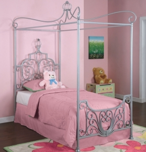 1066TB Canopy Twin Size Bed - Dimensions: 83 1/4