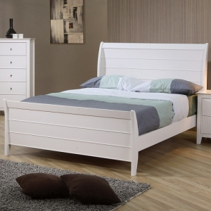 0981T Twin Sleigh Bed w/ Panel Details - Choose from platform storage bed or platform sleigh bed<br><br>Crafted from tropical hardwood and veneer<br><br>Costal cottage design with Shaker details
