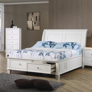 0982T Twin Sleigh Bed  - Choose from platform storage bed or platform sleigh bed<br><br>Costal cottage design with Shaker details