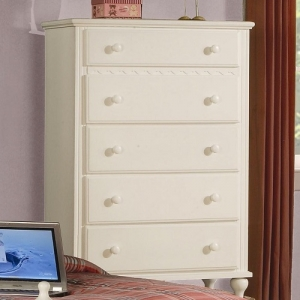 026CH Chest W/ 5 Drawers - Cottage home inspired design <br><br>Dovetail drawers and center glides create a sturdy drawer unit <br><br>case pieces have wood knobs finished eggshell <br><br>