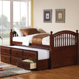 005DB Captain's Daybed W/Trundle & Storage Drawers - Twin daybed finished in chestnut<BR><BR>Pull out trundle included<br><br>Link spring not required<BR><BR>