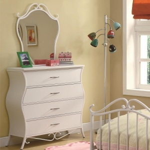 058M Youth White Metal Mirror - <b>*Dresser Sold Separately*</b><br><br>Features wavy curves and is finished with metal scroll designs against white<br><br>