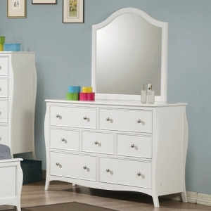Item # 061DR Drawer Dresser w/ Mirror - <b>*Mirror Sold Separately*</b><br><br>Case pieces have silver metal knobs, finished in white<br><br>