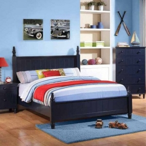 0907T Twin Bed with Cottage Style Design - The cottage style bed has a head and foot board with distinctive paneling detail<<B>Finish:</b> Blue<br><br><b>Dimensions:</b> Width: 52  x  Depth: 82.5  x  Height: 49.25