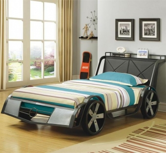 004TB Race Car Twin Bed - This Twin size gunmetal/Silver race car bed features four large wheels, faux headlights and a leatherette headboard with a storage shelf<br><br>