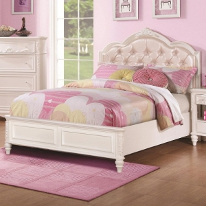 075FB Full Size Bed w/ Diamond Tufted Headboard - *Available in twin*<br><br>The bed has decorative details including an upholstered tufted headboard w/ rhinestone buttons <br><br> Available with or without storage<br><br>
