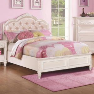 Item # A0016T - The bed has decorative details including an upholstered headboard that is tufted with rhinestone buttons. <br><br>Bed is available with storage or without and is offered in twin or full sizes
