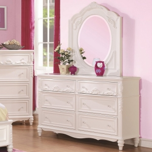 Item # 014DR Decorative 6 Drawer Dresser & Mirror Set