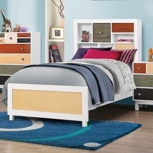 0923TB Twin Multi-Color Bookcase Bed with Three Drawers - *Available in full size*<br><br>The collection comes in white with a medley of colors <br><br> The bookcase bed offers open storage compartments<br><br> <B>Dimensions:</B> Width: 41.75  x  Depth: 85.75  x  Height: 52.