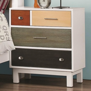 029NS Mutli-Color Nightstand w/ Four Drawers - Dovetail drawers and kenlin glides create a sturdy unit<br><br>