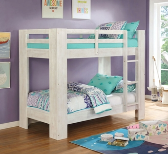 Item# A0017TT - STYLE: Transitional<BR> COLOR/FINISH: Wire-Brushed White<BR> FRAME FINISH: Wire-Brushed White<BR> NUMBER OF SLATSTop & Bottom: 13<BR> PRODUCT DIMENSION<BR> Twin/Twin Bunk Bed78 7/8
