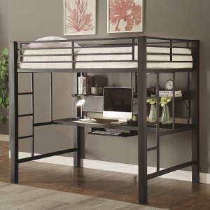 002MLB Workstation Full Loft Bed - This metal workstation full loft bed finished in metal is constructed from strong two inch metal tubing. It has full length guard rails with bilateral built-in ladders. Desk has keyboard tray and shelf for storage.<br><br>