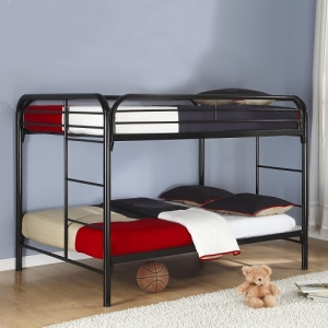 012MBB Full/Full Bunk Bed - Full/Full bunk bed in black with built-in ladder and full guard rails for safety.<br><Br>Constructed of strong two-inch metal tubing<br><Br>