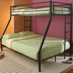 008MBB Metal Twin/Full Bunk Bed - Twin/Full bunk board finished in black with full length guard rails with built-in ladder<br><br>Constructed of strong two-inch metal tubing<br><br>Constructed of strong two-inch metal tubing<br><br>