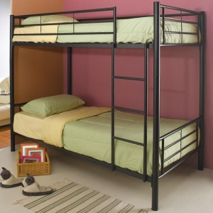 007MBB Metal Twin/Twin Bunk Bed - Twin/Twin bunk bed finished in black with guard rails and coordinating ladder<br><br>Constructed from strong two inch metal tubing<BR><BR>