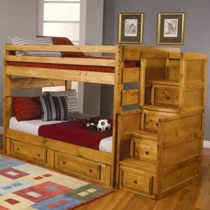 Item # A0008FF Full Over Full Bunk Bed with Under-Bed Storage - *Stairway Sold Separately*<br><Br>Full length guard rails for security<br><BR>Stairway chest offers an alternative to gain access to the top bunk<br><br>
