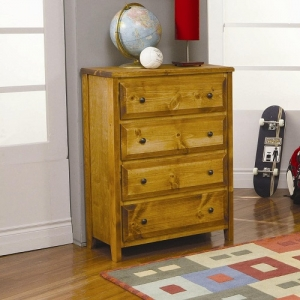 075CH 4 Drawer Chest - Case pieces have metal on metal glides and simple knob hardware<br><br>Solid Pine construction for durability<br><br>